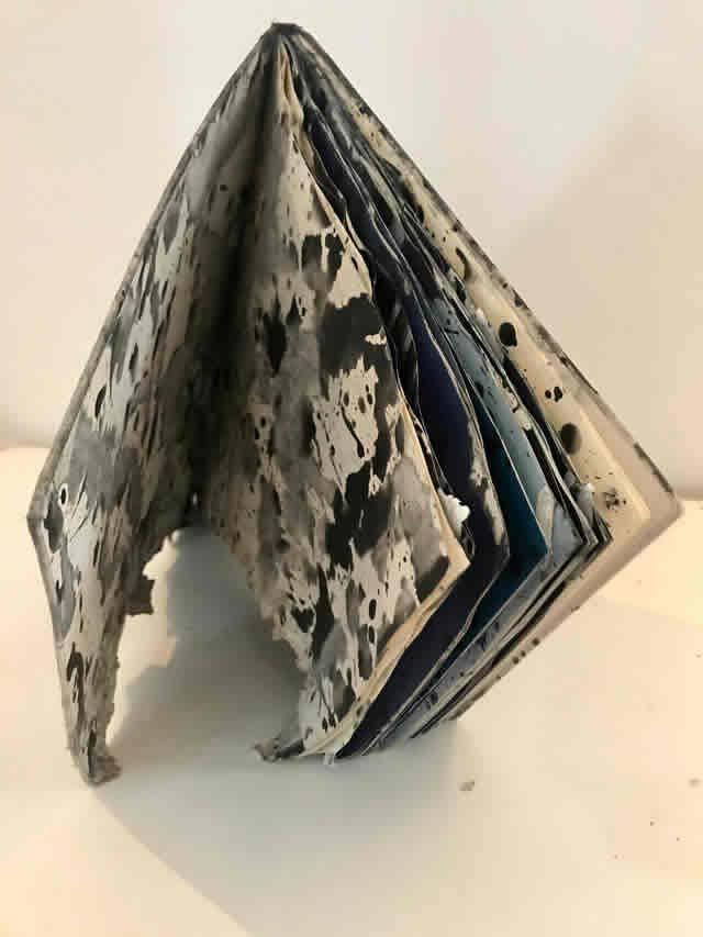 """L'opera """"Work in Progress"""", un libro in distruzione macchiato di nero"""